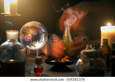 Witch at work, mystical atmosphere, a lot of magic items, magic ball #509281378