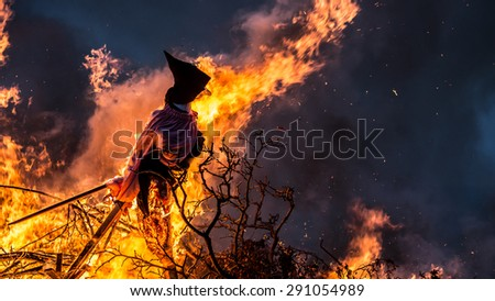 Witch Burning.  Burning a witch effigy is a Danish midsummer tradition  #291054989