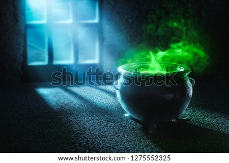Witch cauldron with boiling potion at night / high contrast image, 3D illustration Stock photo ©