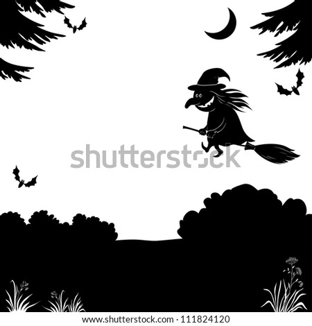 Witch flying on broom over the night forest, the image of a holiday Halloween, black silhouette on white background