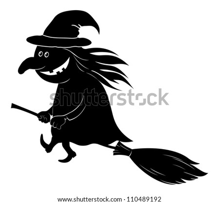 Witch flying on broom, the image of a holiday Halloween, black silhouette on white background