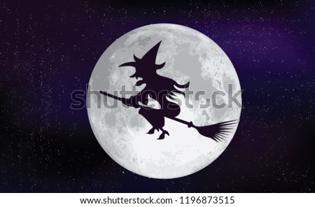 Witch on a broomstick in the moon helloween See the moon shines through the pine  trees Nightly sky with large moon Shadow tree on sun in evening Pine trees at night with full moon Vecor wood creepy