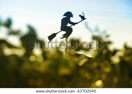 Witch on broomstick weather vane
