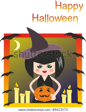 Witch, pumpkin, candles and bats. Halloween. Comic cartoon illustration
