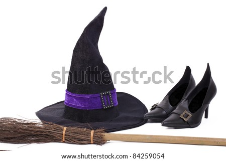 Witch's costume, hat, shoes and broomstick, white background,