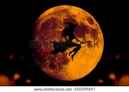 witch silhouette, Moon background,helloween