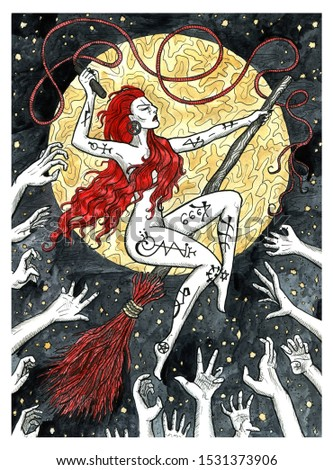 Witch sitting on broomstick flying against full moon and hands of inquisitors. Colorful graphic engraved illustration. Fantasy and mystic drawing. Gothic, occult and esoteric background for Halloween