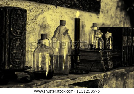 Witchcraft objects to do magic, detail of belief and mystery, fear #1111258595