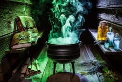 Witcher cauldron with blue and green smoke for Halloween