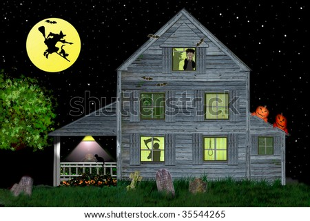 Witches Haven - Halloween Haunted House with Witches, Pumpkin Goblins and the Grim Reaper.