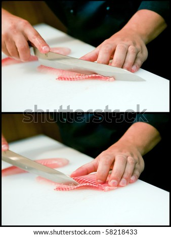 With a knife carefully cut fillets of salmon