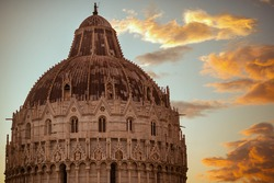 with Baptistery of San Giovanni in Pisa, Italy.