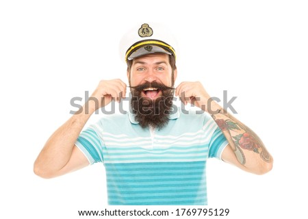 With great barbershop comes great beard. Happy seaman twirl moustache isolated on white. Bearded man in navy uniform. Barbershop. Cut and shave. Barbershop care. Appointment to barbershop.