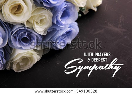 With Prayers & Deepest Sympathy. A sympathetic letter design for someone in despair