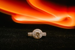 With red flame trail ring