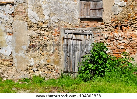 withered wooden door in a brick wall