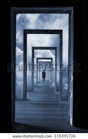 Within a Dream 1, silhouette in a corridor in front of a closed door. Rite of passage concept. Linear perspective view through several open doors and empty rooms.