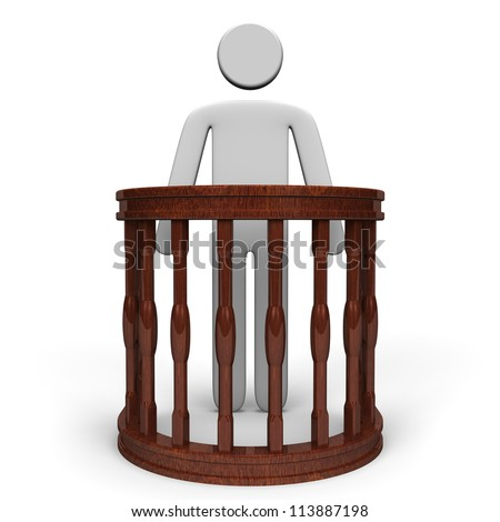 Witness Stand And Person Front View