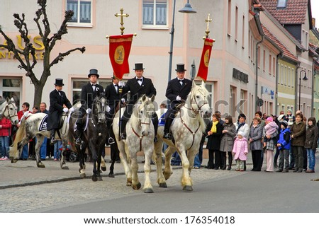 WITTICHENAU, GERMANY - EASTER SUNDAY APRIL 4: The Easter Riders of Upper Lusatia  announce the news of Jesus resurrection on April 4, 2010 in Wittichenau. This announcement parade happens every year.