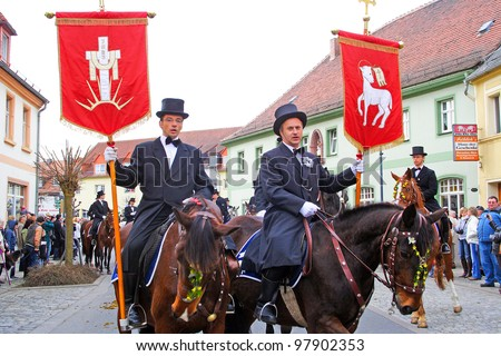 WITTICHENAU, GERMANY - EASTER SUNDAY 4 APRIL: The Easter Riders of Upper Lusatia  announce the news of Jesus resurrection on April 4, 2010, Wittichenau, Germany. This announcement parade happens every year.