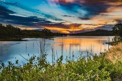 Wivenhoe Dam at sunset in Queensland, Australia