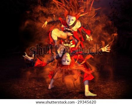 Stock Photo wizard girls dancing