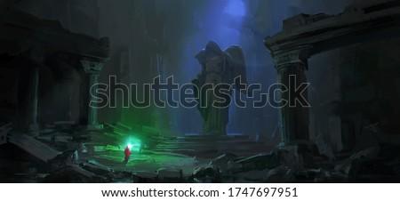 Wizard in the dark dungeon, digital painting. Foto stock ©