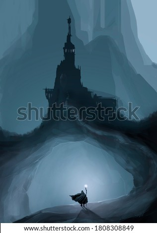 Wizard standing in front of a castle by night. The challenger stands in front of the spooky castle, digital painting. Fantasy concept.  Stockfoto ©