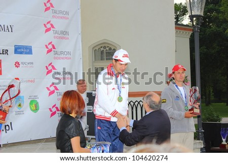 WOJANOW CASTLE, POLAND - MAY.26 : Alexander Vorobev, Russia, wins the Carnivorous Artificial Baits Shore Angling World Championship, on May 26, 2012 at Jelenia Gora, Wojanow Castle, PL