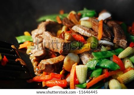 Wok Stir Fry - stock photo