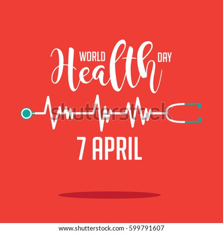 Wold Health Day heartbeat and stethoscope design. In celebration of World Health Day.