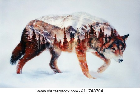 Wolf and forest. Airbrush painting. Hand drawing