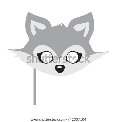 Wolf animal carnival mask  illustration in flat style. Wild forest dog face. Funny childish masquerade mask isolated on white. New Year masque for festivals, holiday dress code for kids