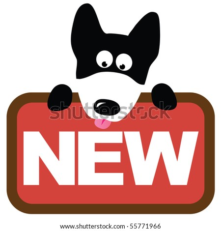 Wolf dog holding sign