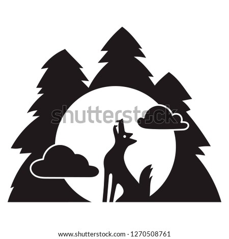 Wolf forest howl icon. Simple illustration of wolf forest howl icon for web design isolated on white background