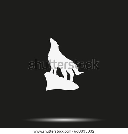 Wolf howling silhouette.
