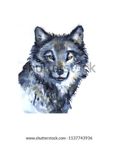 wolf illustration watercolor avatar, print #1137743936