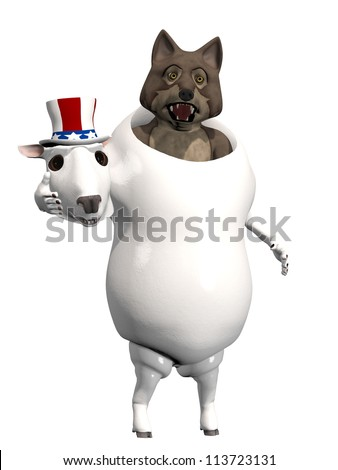 Wolf In Sheep's Clothing: A wolf in a sheep costume caught with his head removed. Political humor.