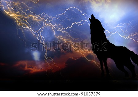 wolf in silhouette howling to thunderstorm