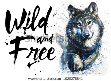 Shutterstock Wolf watercolor animals predator wildlife