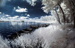 Wolsztyn Lake in Greater Poland, Poland. The infrared image