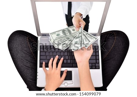 woman a payment transaction with a laptop, isolated on white background