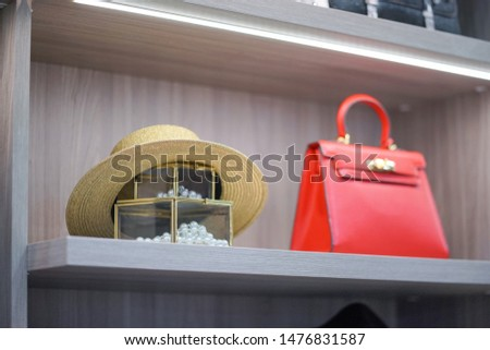 Woman accessories. lady accessories such as red leather handbag, strawhat and pearl necklace in the wardrobe.