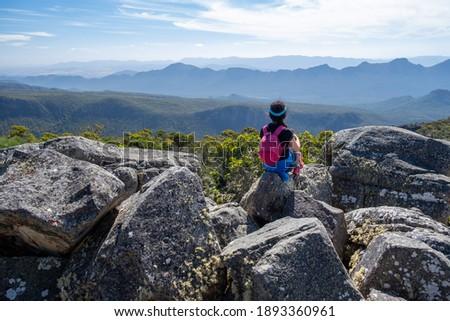 Woman admiring beatufiul mountains view in Grampians, Victoria, Australia Stock photo ©