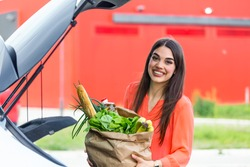 Woman after shopping in a mall or shopping center . Beautiful young woman shopping in a grocery store/supermarket, putting the groceries into her car in the pa