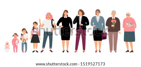Woman age stages. Cartoon female ages process, teenager girl and young adult, mother and aged grandmother, women generations characters, illustration