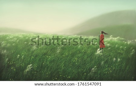 Woman alone in nature, freedom hope emotion lonely and loneliness concept, painting art, happiness illustration, dreamlike artwork
