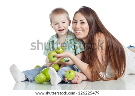 Woman and boy apples