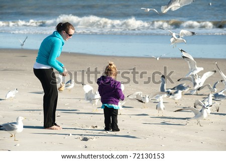 woman and child feeding birds at the beach