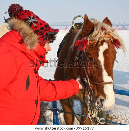 woman and cute animals - horses.